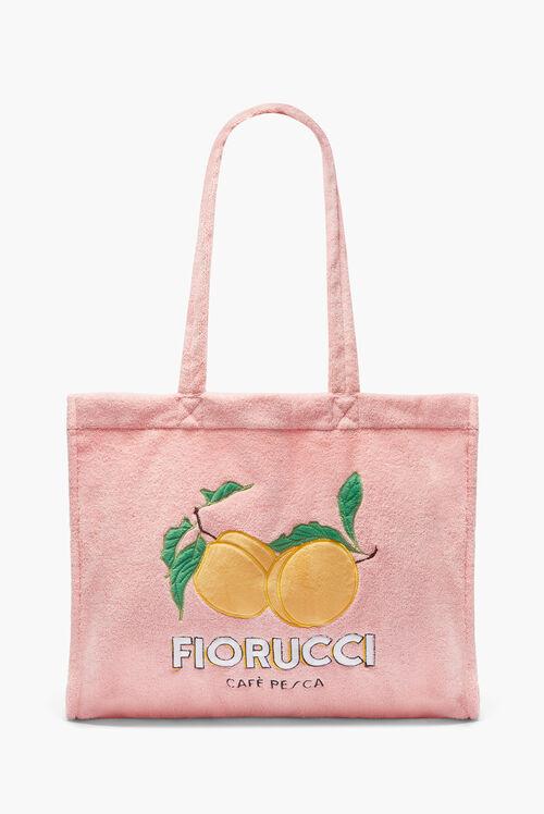 La Pesca Peach Logo Towelling Tote Bag Pale Pink