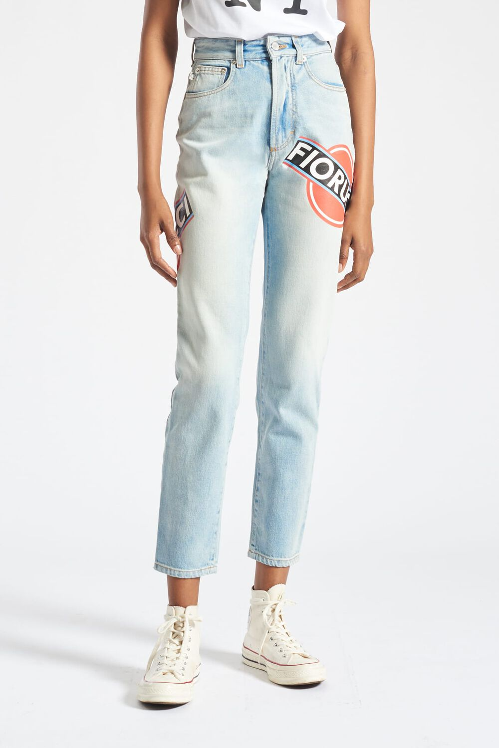Martini Graphic Logo Tara Tapered Jeans Blue
