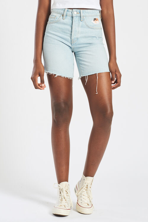 Icon Angels Cut Off Denim Shorts Blue