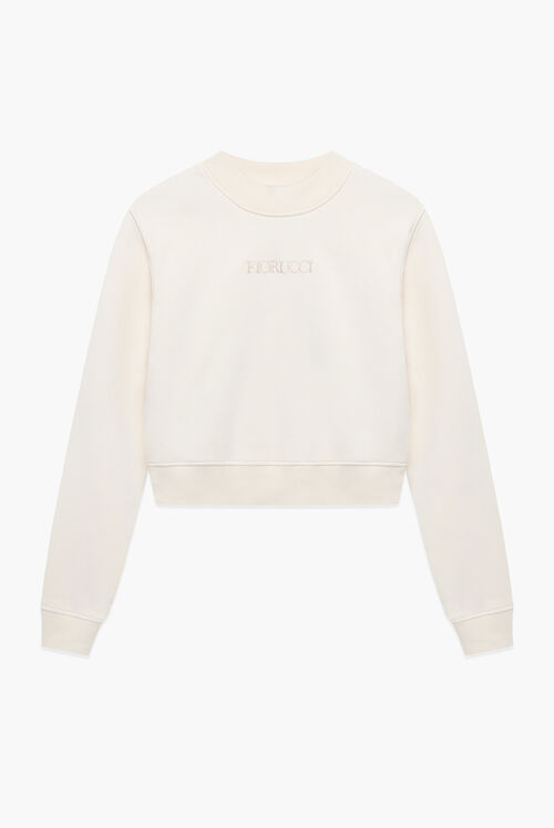 Embroidered Logo Boxy Crop Sweatshirt Off White