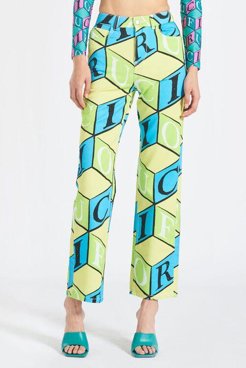 Cubic Monogram Straight Leg Jeans Green