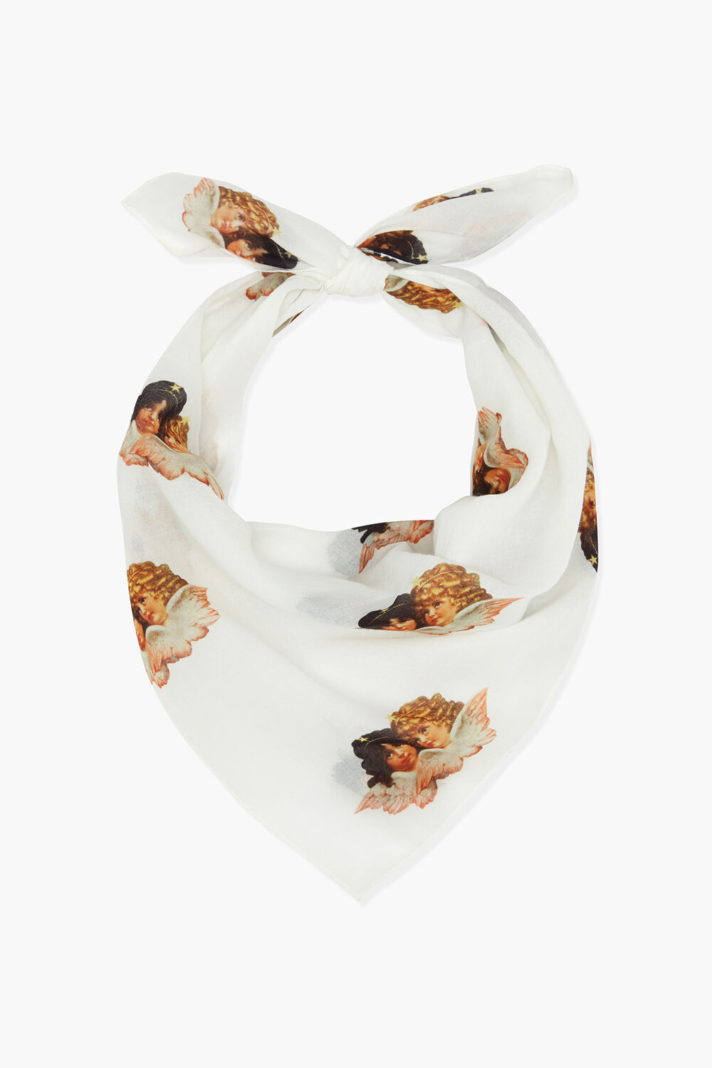 All Over Angels Bandana Scarf White