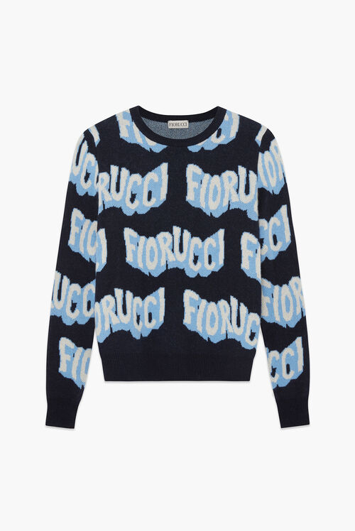 Wavy Logo Knit Jumper Navy