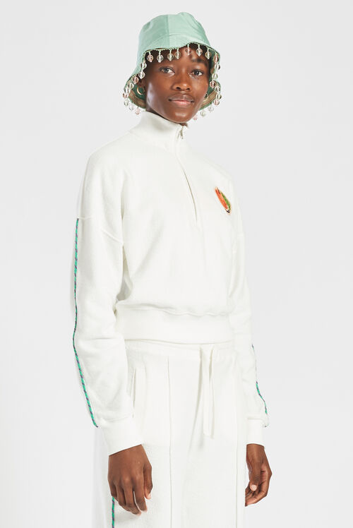 Fiorucci Peach Half-Zip Towelling Sweatshirt White