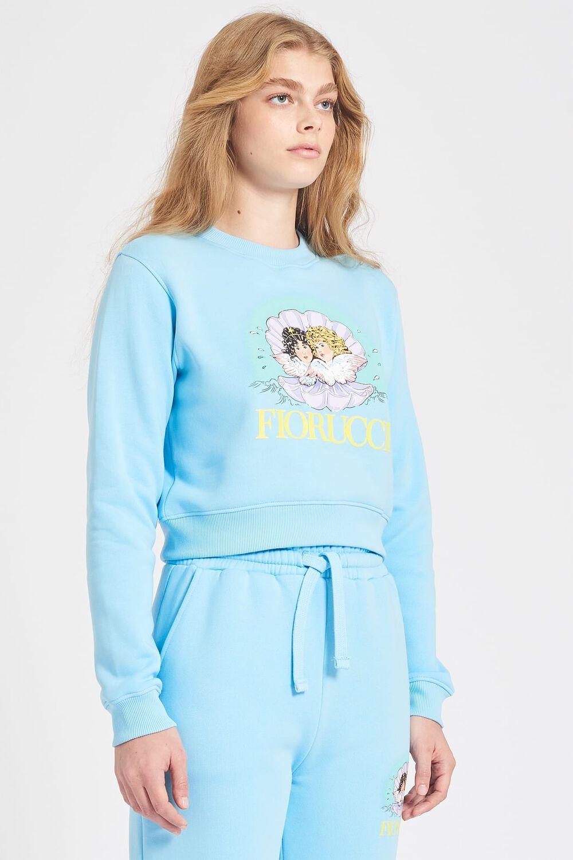 Venus Angels Crop Sweatshirt Pale Blue