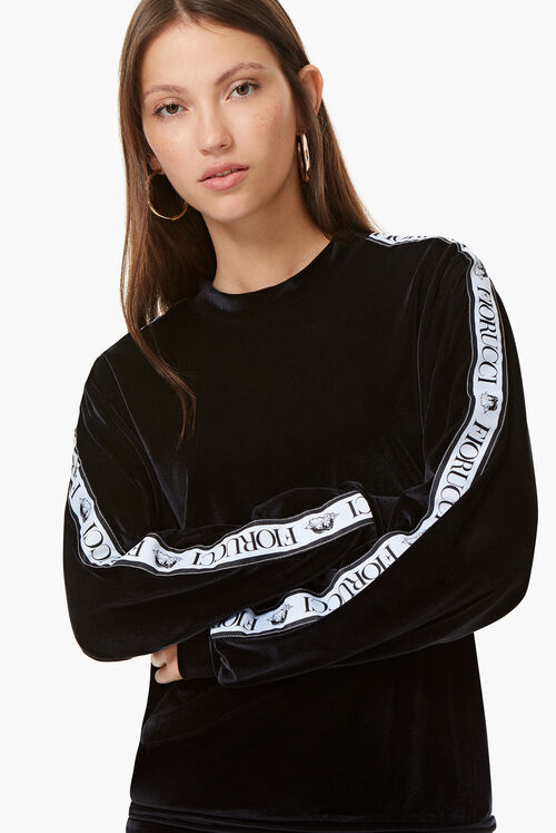 Velour Logo Tape Top Black