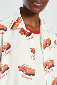 Racing Car Print Over Shirt White