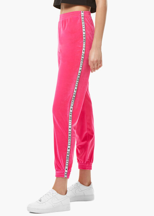 Neon Velour Joggers Pink