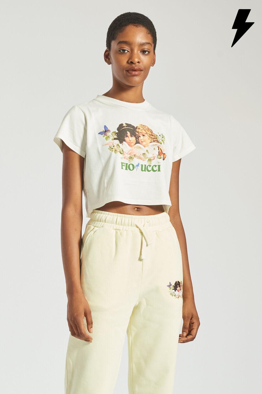 Woodland Angels Crop T-Shirt Off White