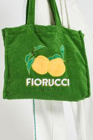 La Pesca Peach Logo Towelling Tote Bag Green