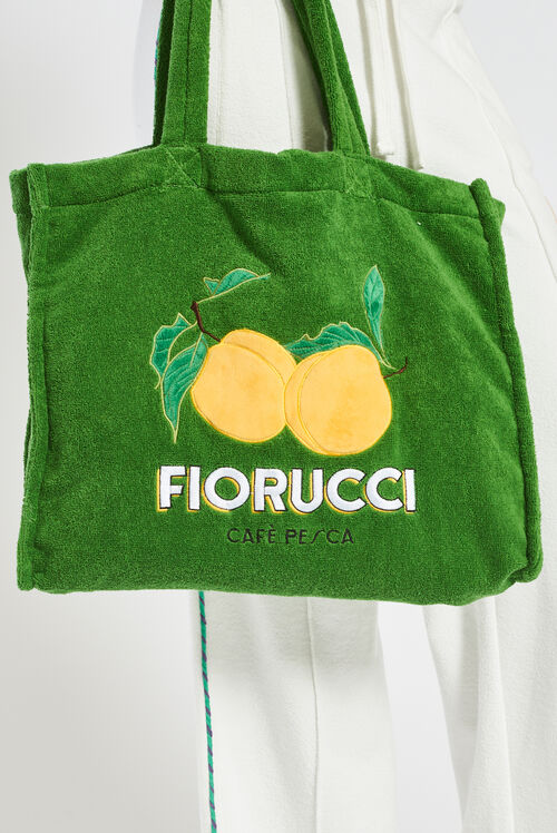 La Pesca Peach Logo Towelling Tote Bag Green