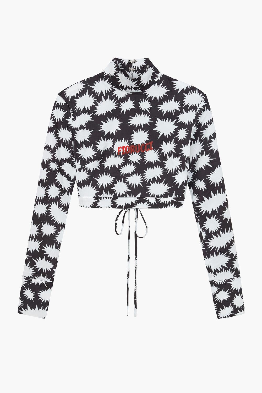 Bang Print Long Sleeve Turtle Neck Crop Top Black
