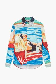 Poolside Print Shirt Blue