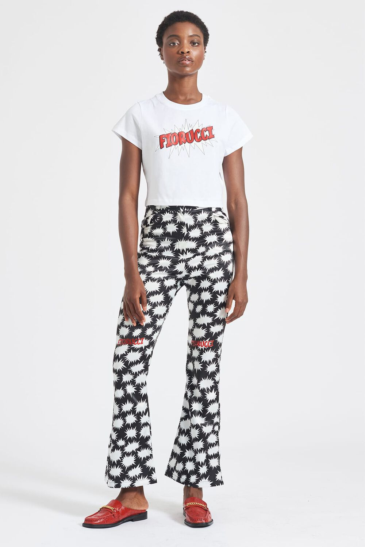 Bang Print Flared Trousers Black