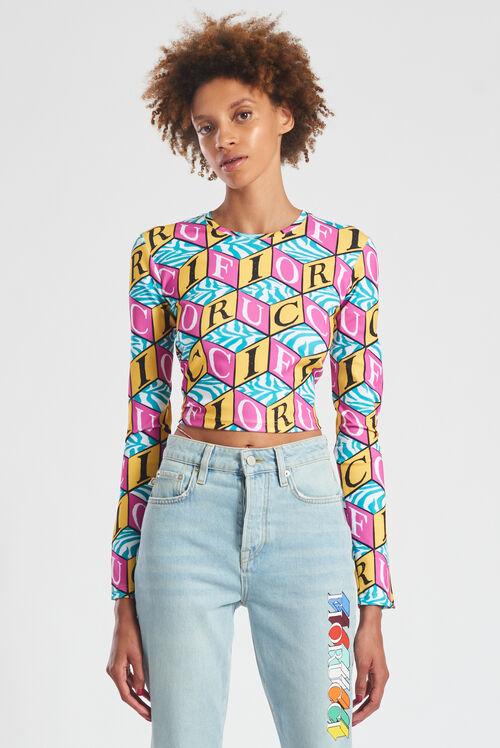 Cubic Monogram Print Crop Long Sleeve Top Multi
