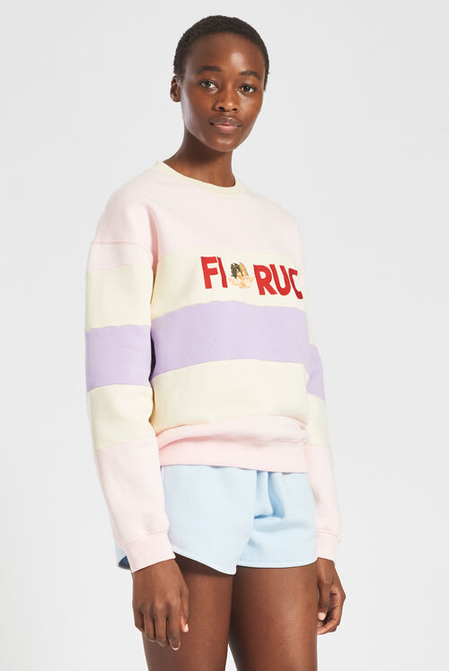 Embroidered Logo Angels Stripe Sweatshirt Pink