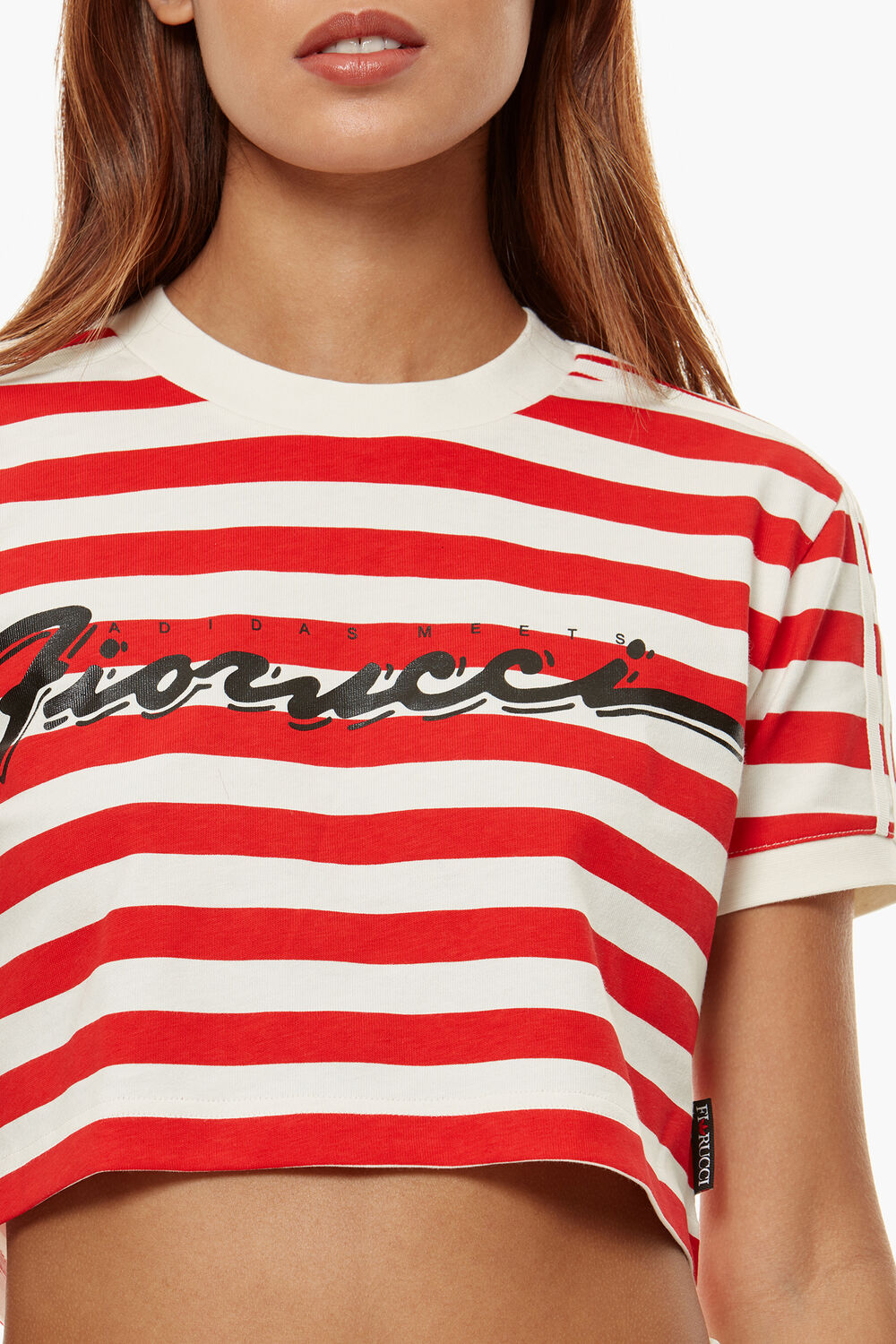 53d4473c0f Adidas x Fiorucci Stripe Crop T-Shirt White/Red