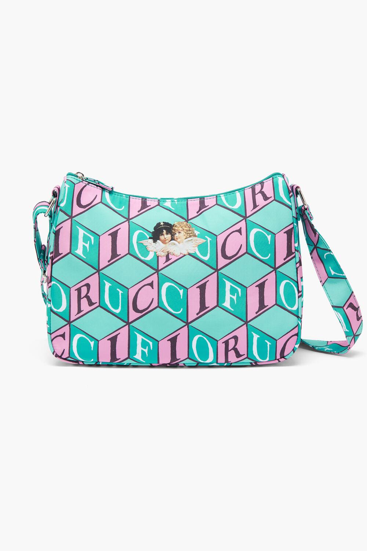 Cubic Print Angels Shoulder Bag Turquoise