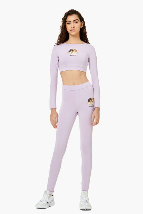 Long Sleeve Angels Crop Top Lilac