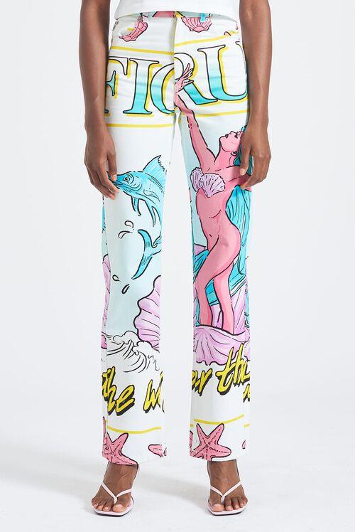 Venus Print Straight Leg Jeans White