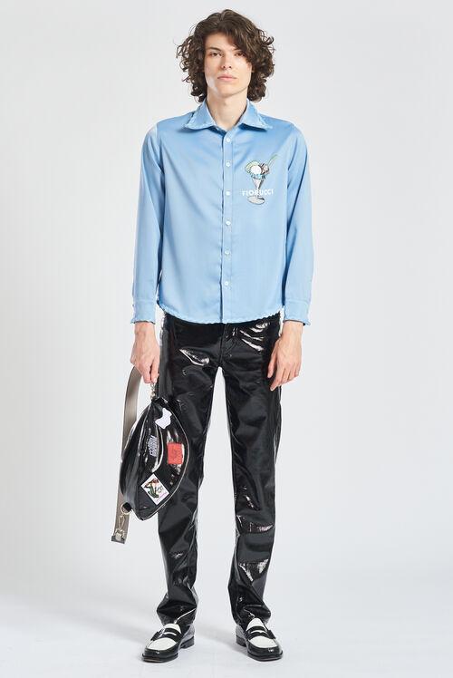 Gelato Logo Satin Shirt Blue