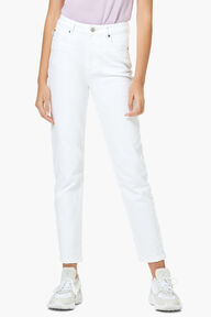 Tara Patch Tapered Jean White