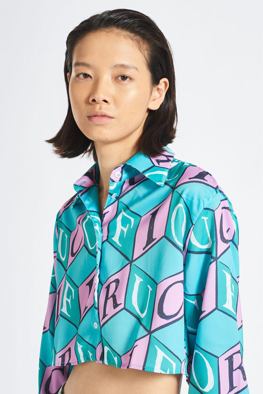 Cubic Monogram Crop Shirt Turquoise