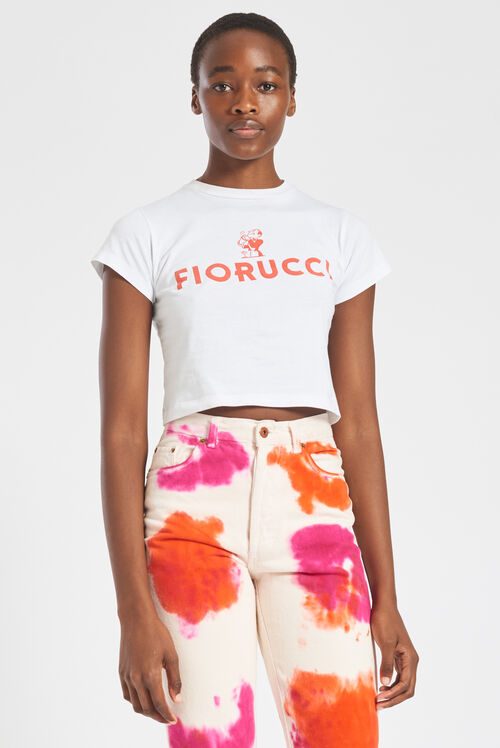 Fiorucci Cocktail Logo Crop T-Shirt White