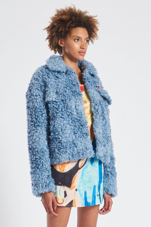 Faux Shearling Jacket Blue
