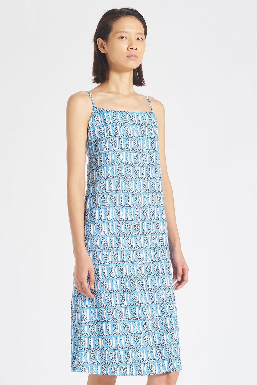 Snow Leopard Midi Slip Dress Blue