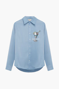 Gelato Logo Satin Shirt Blue