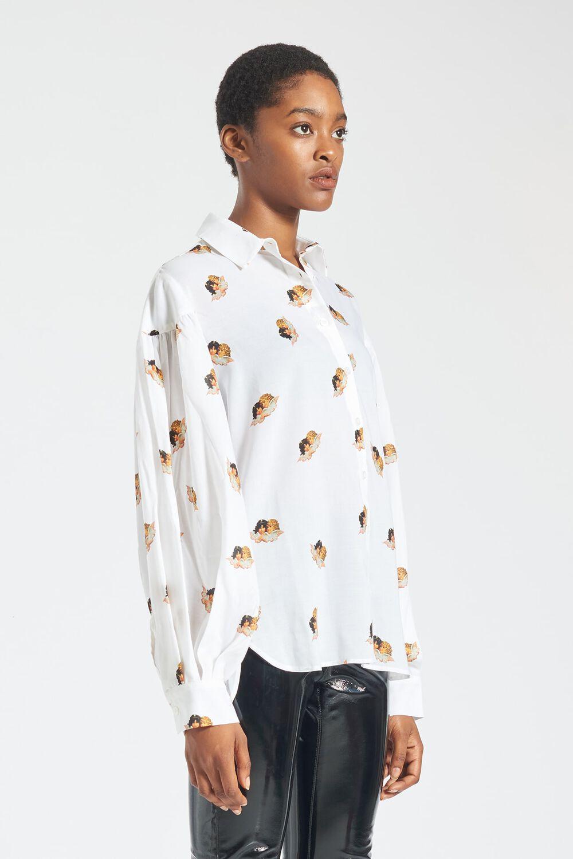 Mini Angels Chiffon Shirt White