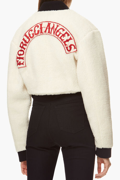Faux Sheepskin Cropped Bomber Jacket