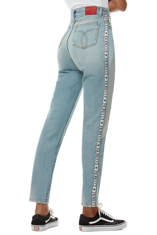 Tara Classic Tapered Jean With Fiorucci Logo Tape