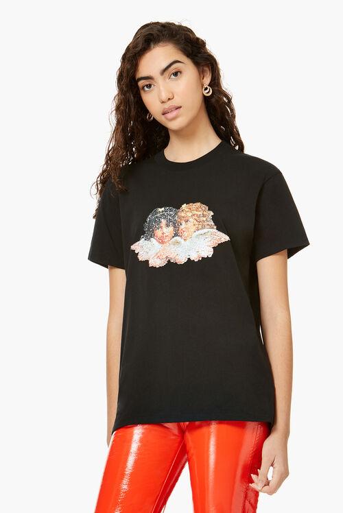 Sequin Angels T-Shirt Black