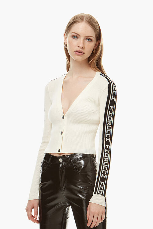 Rib Logo Tape Cardigan Cream
