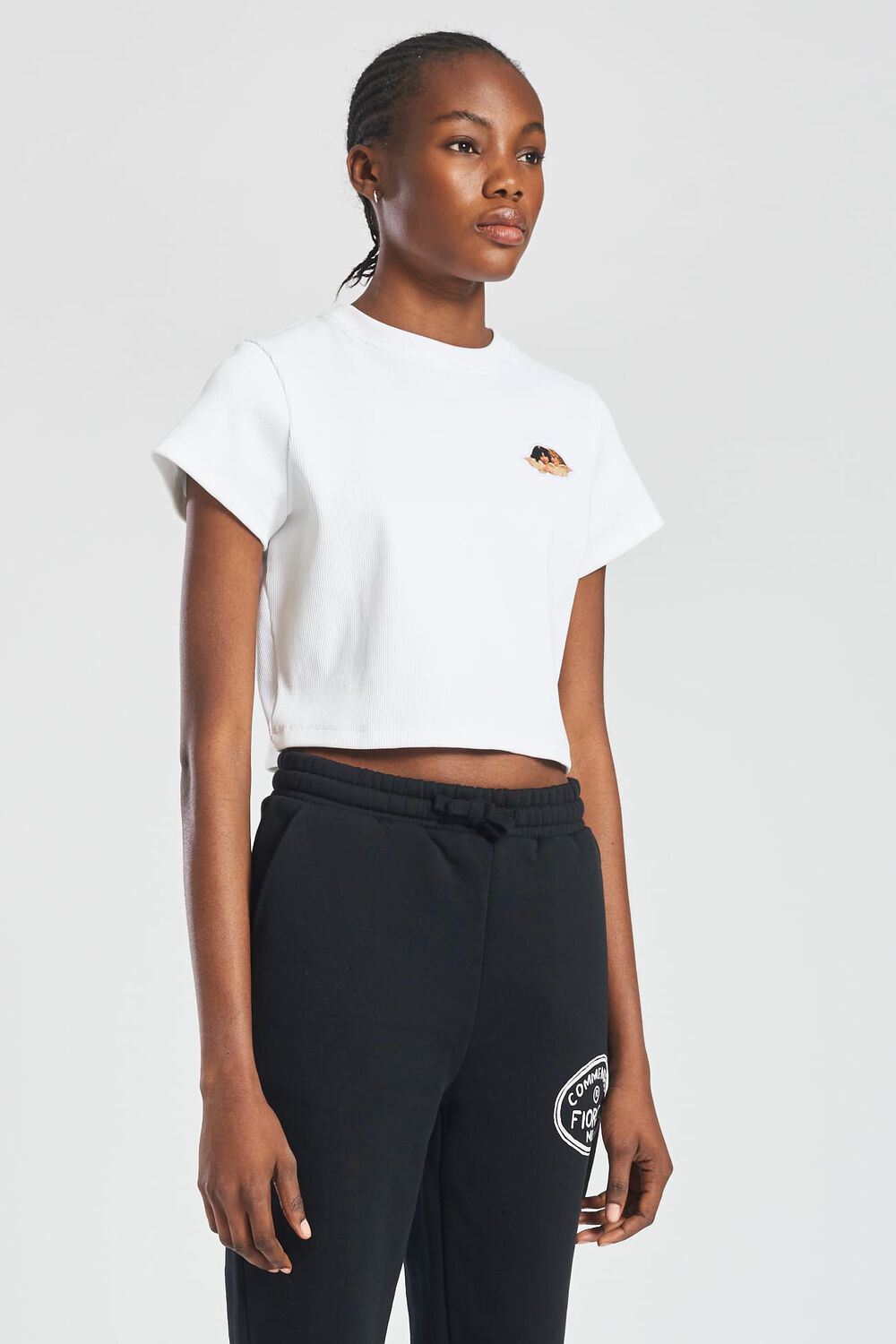 Icon Angels Ribbed Crop T-Shirt White