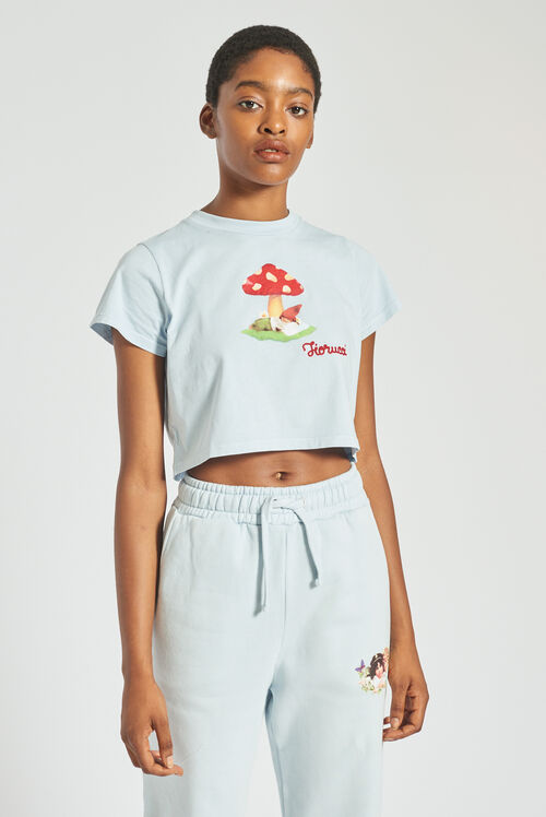 Woodland Mushroom Crop T-Shirt Pale Blue
