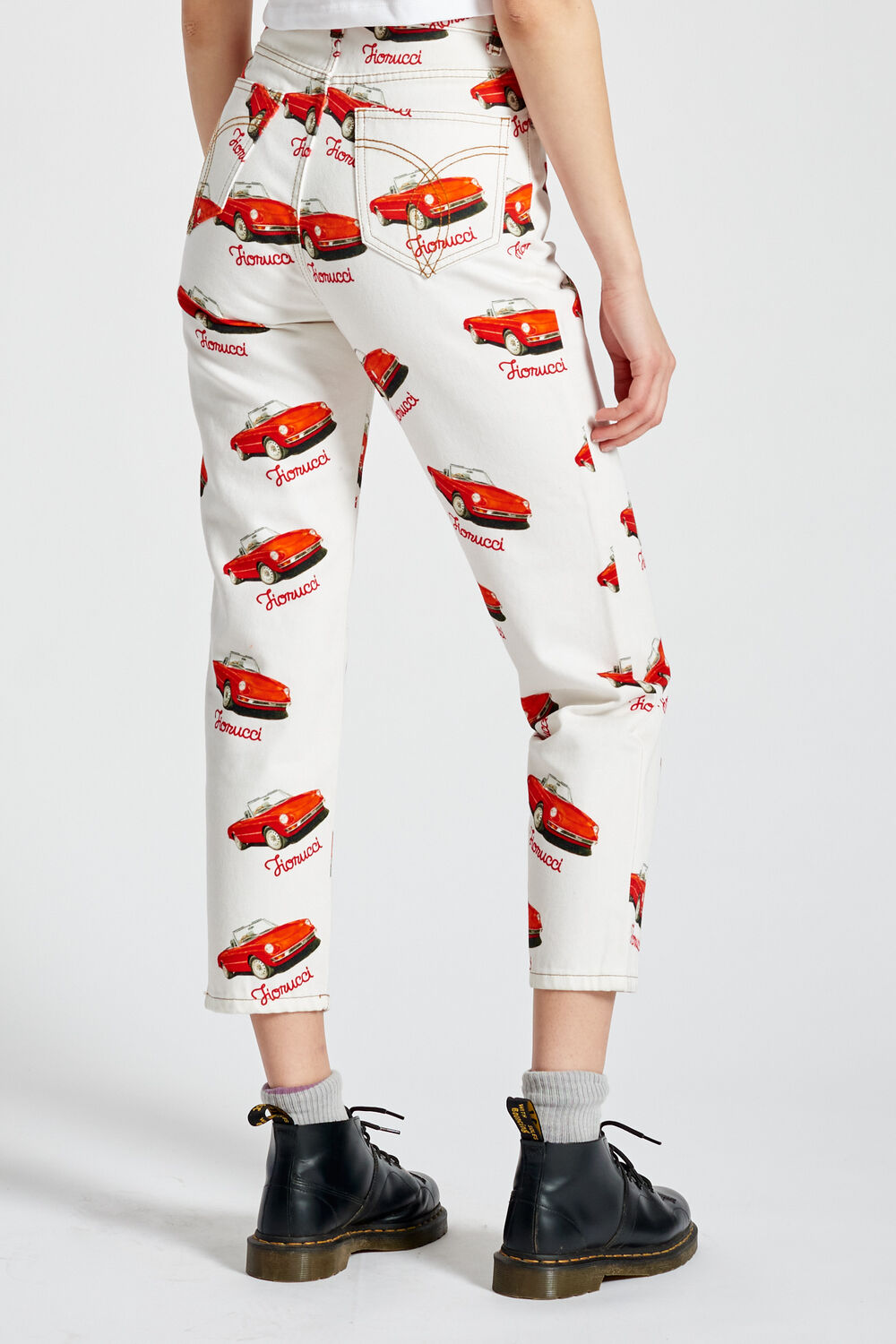 Racing Car Graphic Print Tara Tapered Jeans White