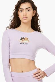 Long Sleeve Angels Crop Top Lilac