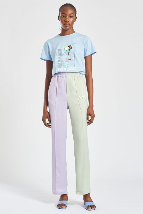 Logo Pastel Satin Straight Leg Trousers Lilac & Green