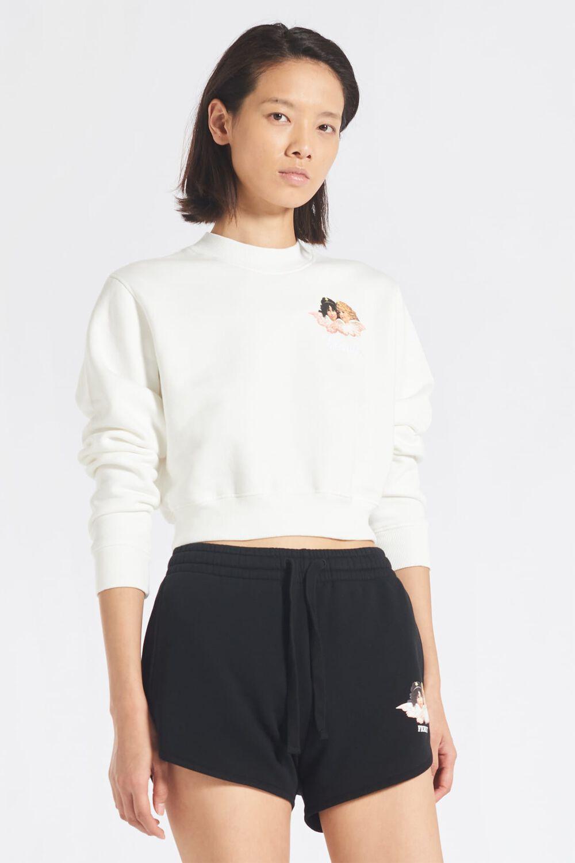 Mini Angels Logo Crop Sweatshirt White