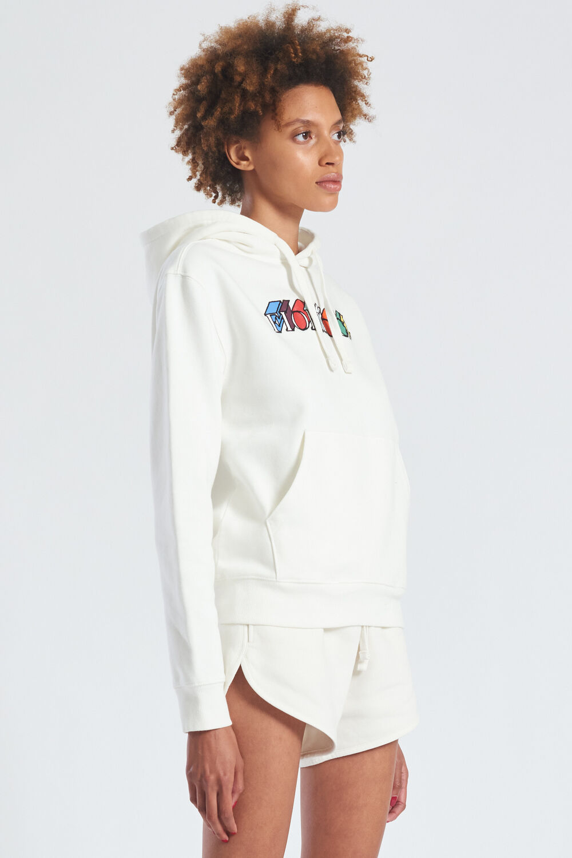 Mono Logo Graphic Hoodie White