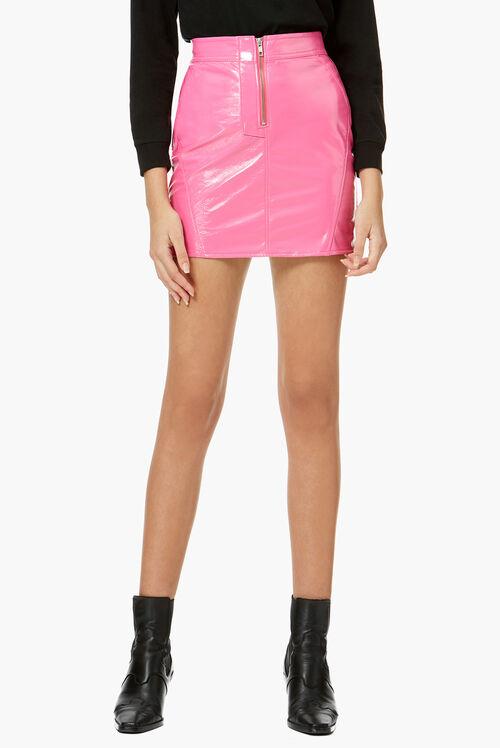 Vinyl Mini Skirt Hot Pink