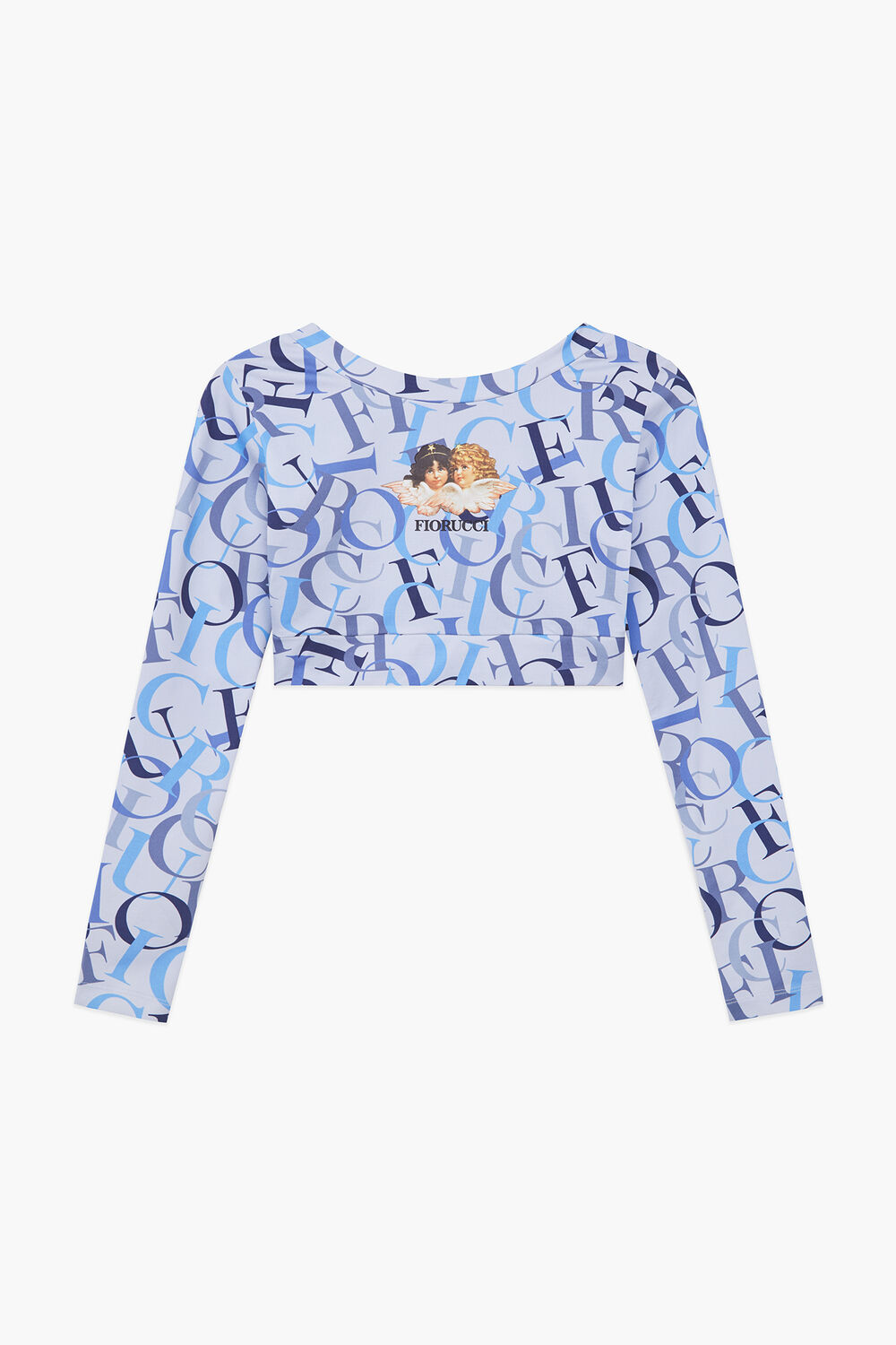 All Over Logo Long Sleeve Crop Top Blue