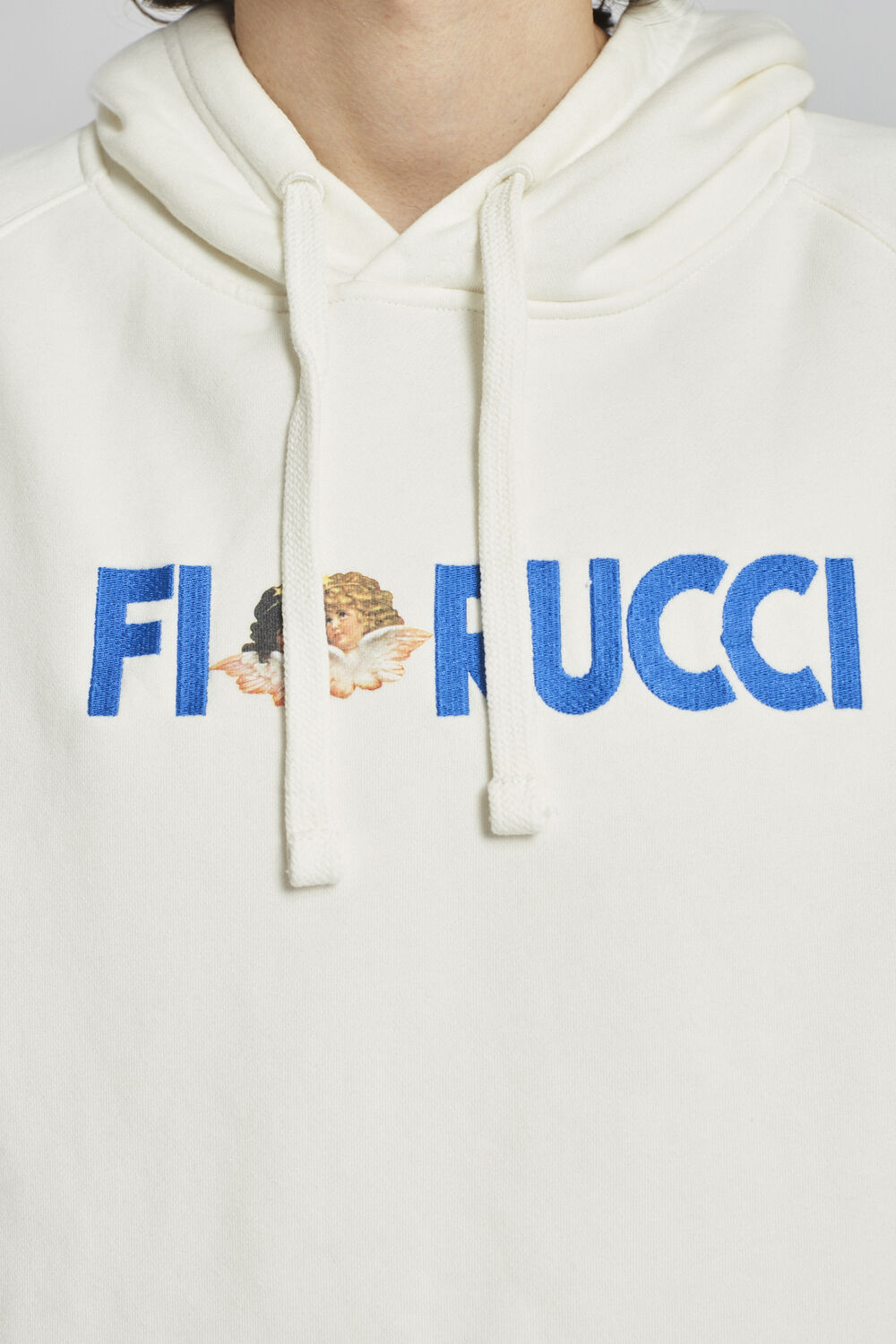 Embroidered Logo Angels Hoodie White