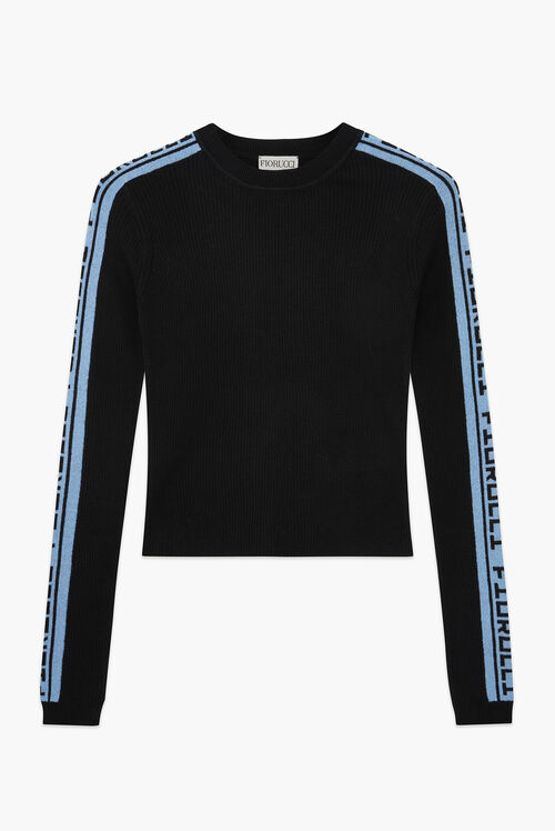 Rib Blue Logo  Knit Sweater Black