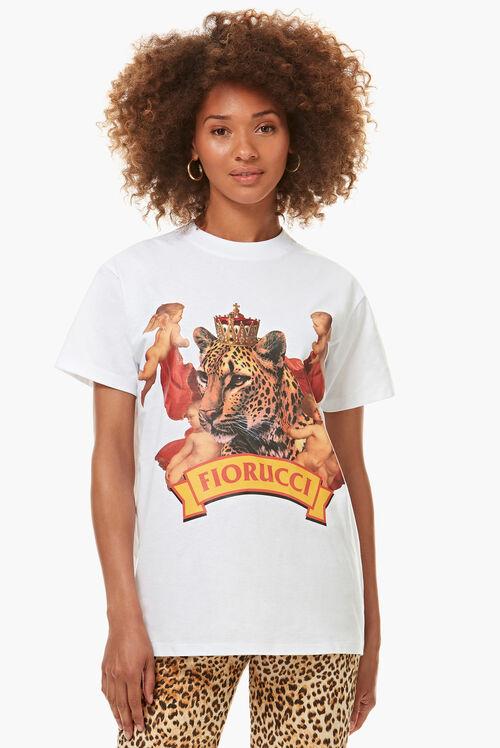 Cheetah Graphic Boyfriend T-Shirt White