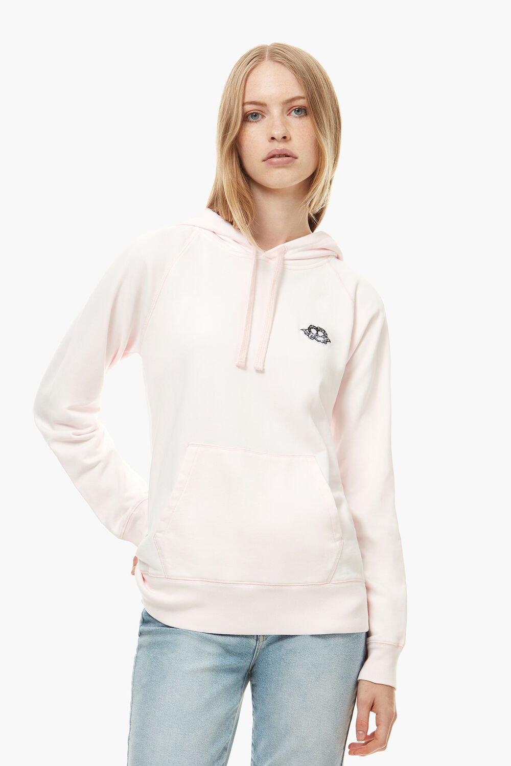 Icon Angels Patch Hoodie Pale Pink
