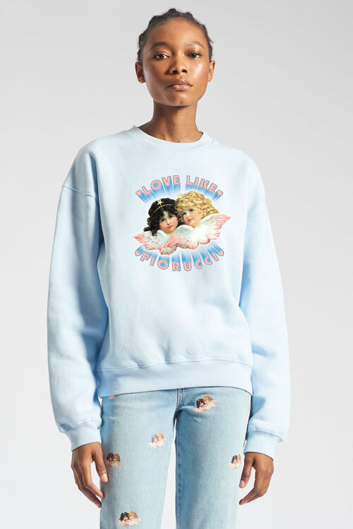 Unisex Love Angels Sweatshirt Pale Blue